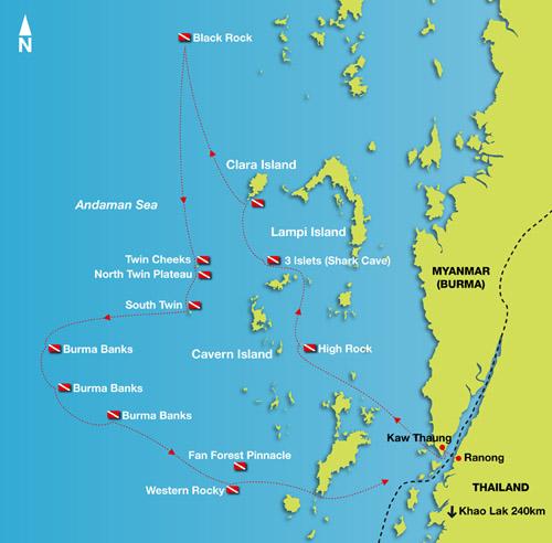 Mergui Archipelago Diving Burma Liveaboard route map